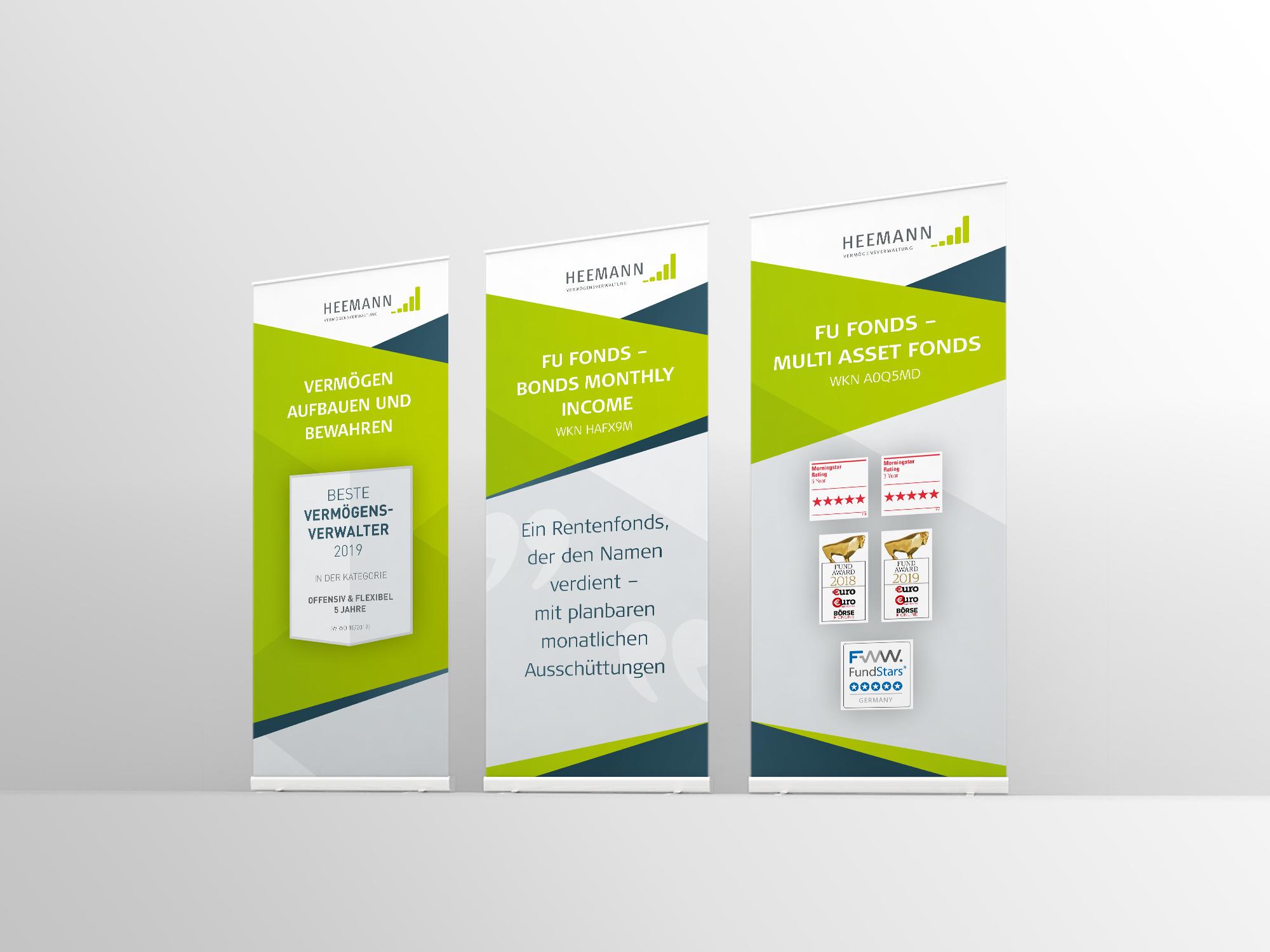 Rollups - Heemann Vermögensverwaltung - Gestaltung für Print und Web - Grafikdesign Janine Frake