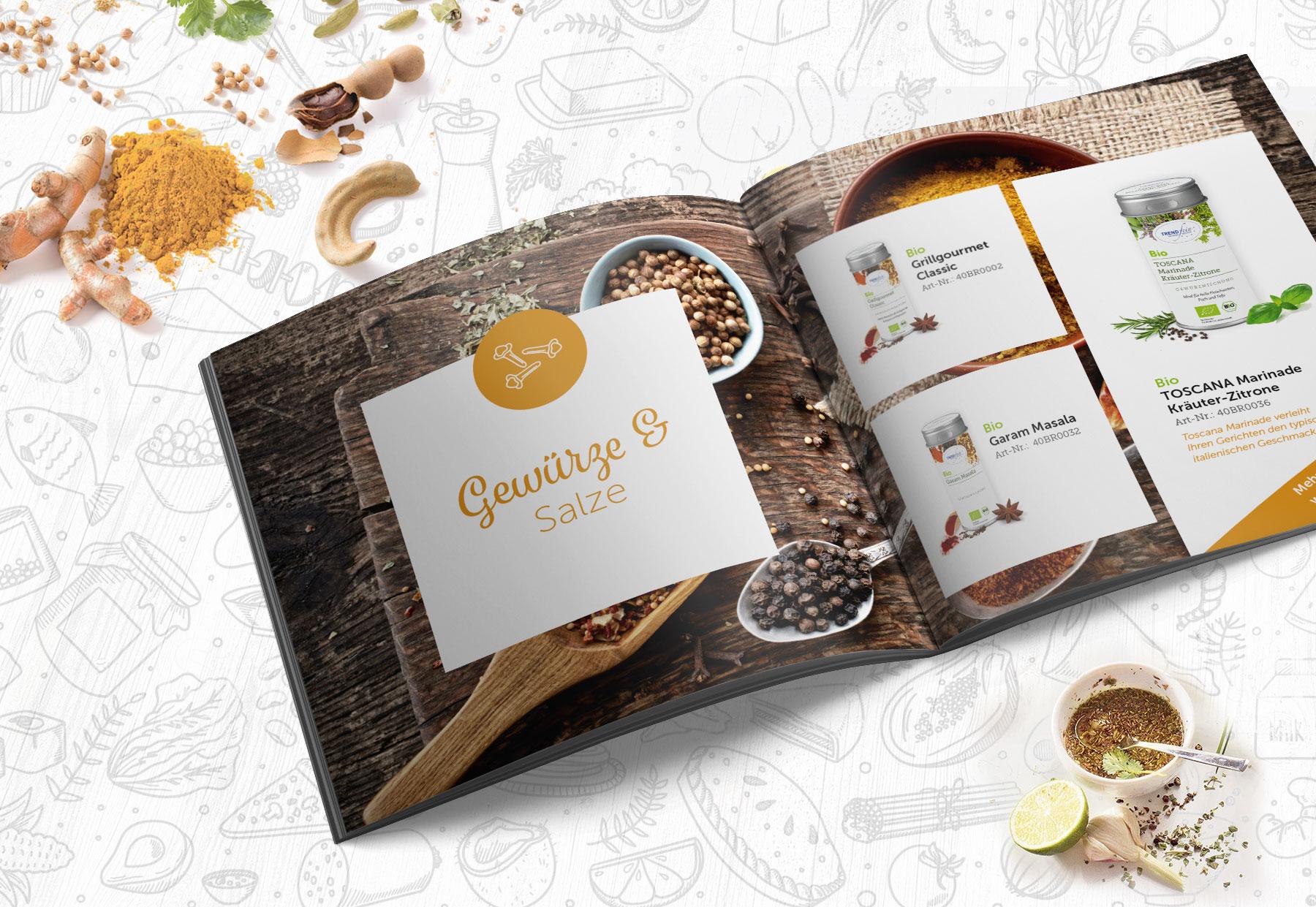 Innenseite - Gewürze - Gestaltung Produktbroschüre Onlineshop